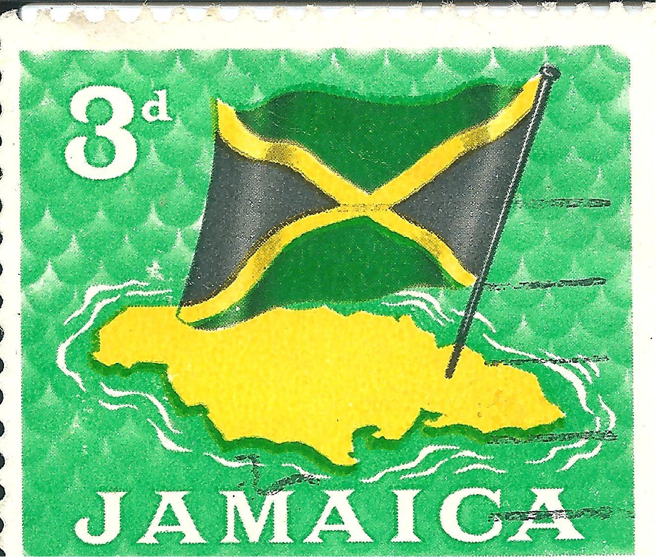 Jamaica Map And Flag Stamps